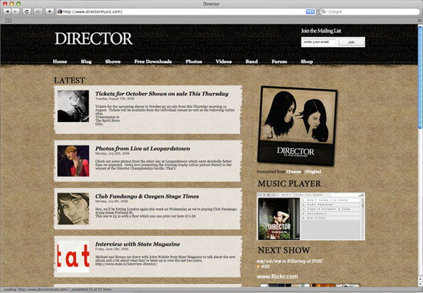 Director Website Screenshot