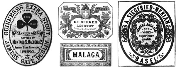 Alcohol labels from Guinness, C.F. Berger Acouvet, Malaga wine and wine from A. Siegfried Merian in Basel designed in the 19th century that might of been in the Christmas shopping trolley