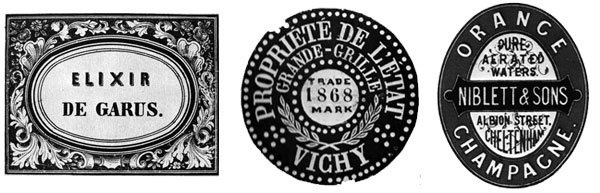 Labels of liqueur for Elixir De Garus and mineral water designed in the 19th century