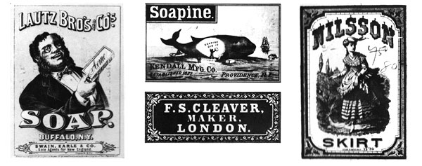 Labels for soap from Lautz Bro's and Soapine that could of been a socking filler over the fireplace in the 1800's. Textile labels of clothing from F.S.Cleaver and Nulsson Skirt that could of been under the Christmas tree in the 19th century