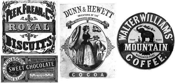 Detailed labels designed in the 19th century for Royal biscuits, Sweet Chocolate, Dunn & Hewett Cocoa and Walter Williams Mountain Coffee designed in the 19th Century