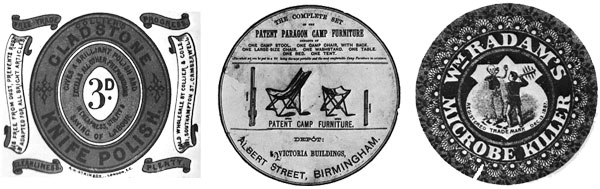 Label design for knife polish and camping furniture that could been on Santa's List! Far right a disinfectant label probably used to clean up after the Christmas party
