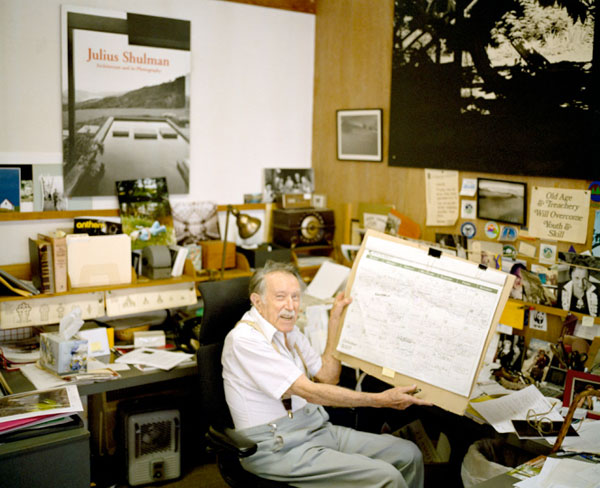 "This great photograph of Julius Shulman by Kwaku Alston, note the humourous sign right foreground of photograph, ""Old Age & Treachery Will Overcome Youth & Skill"""