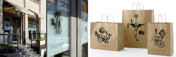 moomah signage and bags