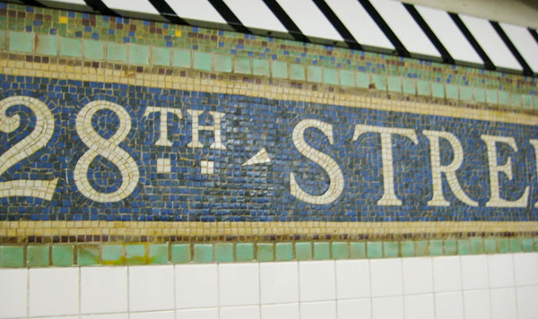 28th Street Subway Station mosaic sign