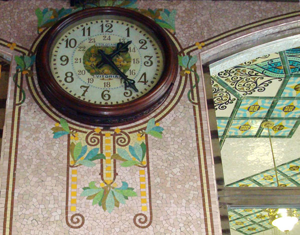 The detail within the clock face is impressive but the mosaic designs that frame it are even more impressive. Check out the mosaic ceiling top right also.